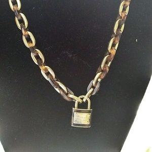 Michael Kors Gold Tone Tortoise Necklace Padlock